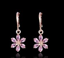 18K ROSE GOLD PLATED HOOP PINK DAISY FLOWER CZ CRYSTAL DROP DANGLE EARRINGS