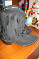 Roper Womens Black Faux Leather  Western Fringe Boots SIZE 10