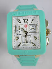 NEW Michele Jelly Bean Park Seafoam Gold Chronograph Watch MWW06L000024 Box NIB