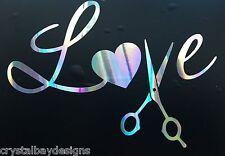 Love Heart Hair Stylist Scissors Ripple Holographic Car Decal Sticker 20-81