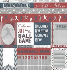 Moxxie - All Star Cutouts Scrapbooking Paper - ASB-1586 - Double sided Baseball
