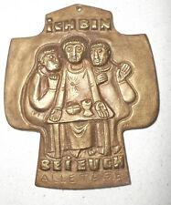 """Bronze Kreuz Bronzerelief Egino Weinert, """"Ich bin bei Euch"""" Cross"""