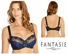 Fantasie Elodie Underwired Side Support Bra Black Cobalt Blue 2182 New Lingerie