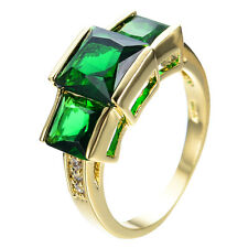 Green Emerald CZ Engagement Ring 10KT Yellow Gold Filled Wedding Band Size8 Free