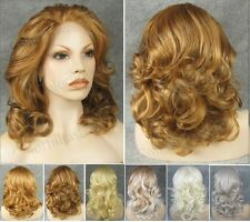 "Front lace 16"" short wavy curly blonde golden white grey synthetic fashion wig."