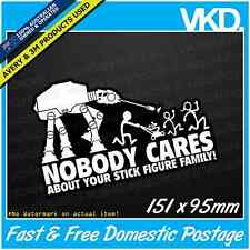 Stick Figure Family Sticker/ Decal - Star Wars AT-AT Funny Parody Yoda Storm Fck