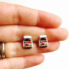 NUTELLA EARRINGS - Stud 925 Sterling Silver Novelty Food Geek Kitsch Jewellery
