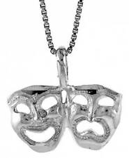 Sterling Silver Drama Mask Pendant 1/2 inch Tall
