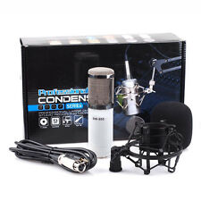 Condenser White Microphone Mic Professional Sound Studio Record with Shock Mount