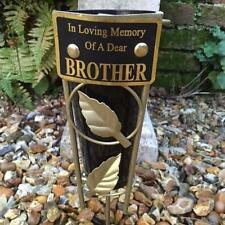 New In Loving Memory BLACK & GOLD GRAVE VASE SPIKE Memorial BROTHER Graveside