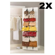2 Over Door Hanging Purse Clothes Cap Hat Storage Closet Organizer Hanger Straps
