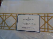 Williams Sonoma Heritage Cane Embroidery Queen duvet 2 standard pcs yellow New