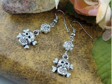 Free shipping - Pair Tibetan Silver Delicate Carved Skull Beaded Amulet Earrings