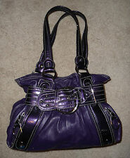 Kathy Van Zeeland Purple Faux Leather belted handbag purse satchel bag Used