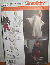 Womens/Misses Goth Type? Costume Sewing Pattern/Simplicity 2777/SZ 14-22/UCN