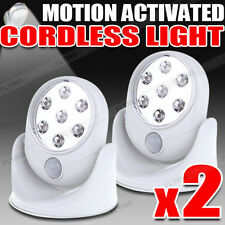2x Motion Activated Sensor 7 LED Cordless Light Stick Up Pathway Stairs