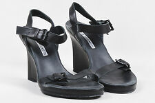 Ann Demeulemeester Black Leather Wedge Sandals SZ 36