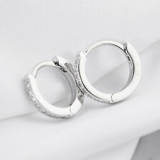 Real 925 Sterling Silver Jewelry Ear Hoop Earrings Unisex Zirconia CZ Gemstone