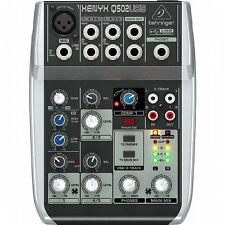 Behringer Q502 USB Xenyx Premium 5 Input, 2 Bus Mixer With Traktion 4 Audio P...