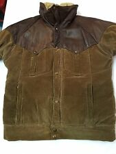 VINTAGE POWDERHORN MOUNTAINEERING GOOSE DOWN LEATHER YOKE CORDUROY JACKET SZ L