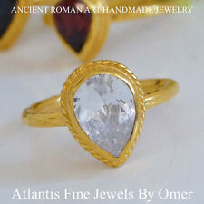 SOLITARE WHITE TOPAZ RING  STERLING SILVER HANDMADE BY OMER HAND FORGED JEWELRY