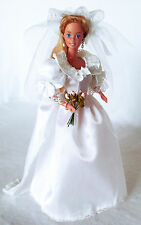 Barbie tenue robe de marié avec voile et traine Outfit wedding dress