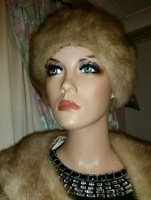 Vintage Genuine Milano Italian Autumn Haze Mink Fur Hat Cloche 4 Coat Jacket