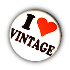 Badge I ♥ LOVE VINTAGE heart coeur retro kawaii punk retro Pop pins button Ø25mm