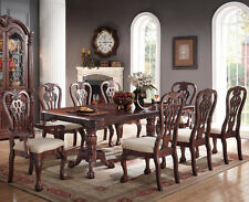 NEW 9PC TRADITIONAL FORMAL GENEVA CARVED CHERRY FINISH WOOD DINING TABLE SET