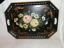 Vintage, 1940's, Antique, Black, Metal, Hand Painted, Flowered, Tole Tray