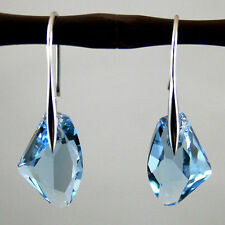 Elegant Blue Crystal Aqua Drop Silver Genuine Earrings Gem Elements gift
