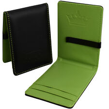 Da Uomo Soldi Clip ECOPELLE-NERO & Verde Slim wallet-Cassa ID Card Holder