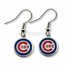 Chicago Cubs Fan Team Logo Charm Silver Hook Earrings MLB Pendant World Series