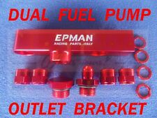 Dual Twin Billet Fuel Pump OUTLET Assembly Manifold for Bosch 044, 070 068 Red