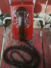 Red & Brown Wall Phone Vintage Bell System Telephone