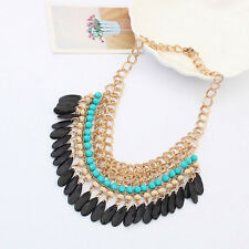 Women Fashion Bohemia Jewelry Rhinestone Chain Necklace Tassel Pendant Choker