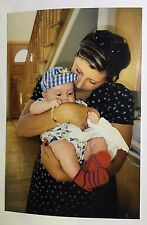 Vintage 90s PHOTO God Mother Holding New Born Baby In Cute Red Socks