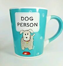 Tombleweed Dog Person Pet Coffee Mug Cup Aqua Blue White Paws Large  16 oz