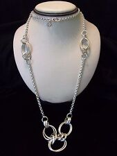 Banana Republic Long Cable Chain Statement Silver Plate Necklace