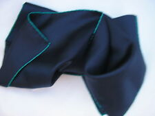 FROM A SUFFOLK SILK MILL,KERCHIEF.16sq, NAVY CORDED SILK,EMERALD HANDROLLED EDGE