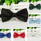 Adjustable Fashion Bowtie Men's Solid Plain Bow Tie Pre-Tied Neckwear Pink Hot