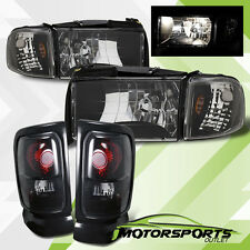 1994-2001 Dodge Ram 1500 2500 3500 Black Headlights w/Dark Smoke Tail Lights