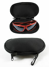 BLACK PADDED SUNGLASSES GLASSES CASE / POUCH WITH CARRY CLIP IDEAL FOR HOLIDAY