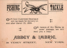AD LOT OF 2 1892 ADS FLY FISHERMAN TROUT KIFFE  ABBEY IMBRIC TACKLE