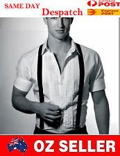 Unisex Men Solid Black Adjustable Pants Suspenders Braces Elastic 2.3CM Wedding