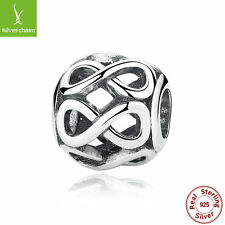 925 Sterling Silver INFINITE SHINE charms fit European Charm Bead bracelet Chain