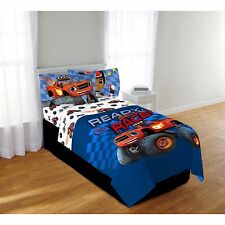 Blaze & The Monster Machines Boys Full Comforter & Sheets (5 Piece Bed In A Bag)