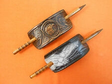 2 Leather Hair Barrettes w Sticks, Ponytail, American Eagles, Hand Crafted #107