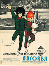 PUBLICITE ADVERTISING 084  1963  ABSORBA   pantalons & blousons enfants