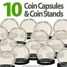 10 Coin Capsules & 10 Stands for SILVER EAGLE Direct Fit Airtight 40.6mm Holders